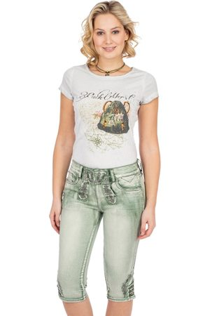 MARJO Damen Cropped - Jeanshose DENISE Kniebund pastellgrün