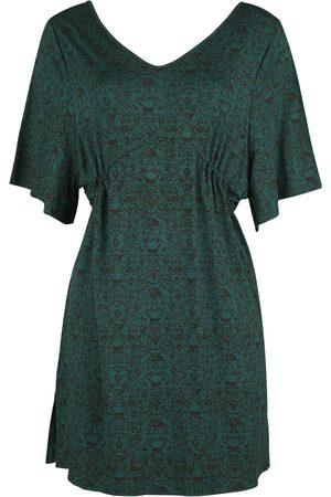 Black Premium by EMP Dunkelgrünes Kleid mit Print, weiten Ärmeln und Raffung in der Taille Kurzes Kleid dunkelgrün