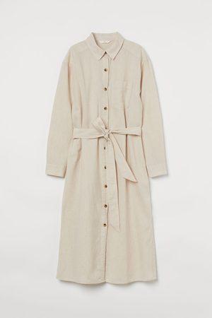 H&M Damen Freizeitkleider - Blusenkleid aus Leinenmix
