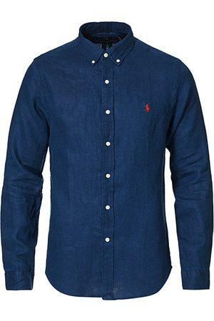 Polo Ralph Lauren Herren Poloshirts - Slim Fit Linen Button Down Shirt Newport Navy