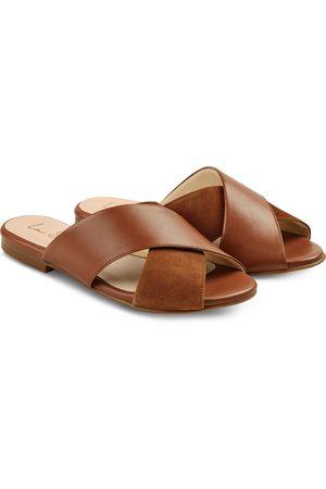 LaShoe Damen Clogs & Pantoletten - Pantolette Materialmix Cognac 36