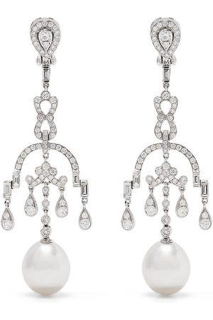Yoko London Damen Ohrringe - 18kt Mayfair Weißgoldohrringe mit Süßwasserperlen