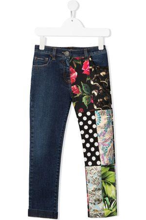 Dolce & Gabbana Mädchen Cropped - Jeans mit Kontrasteinsätzen