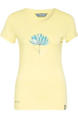 me°ru' Gerader Schnitt. Gerippter Rundhalsausschnitt. Floraler Print auf der Brust. Label-Details. Elastische Qualität. Maße bei Größe 36:- Rückenlänge ab Schulter: 67 cm