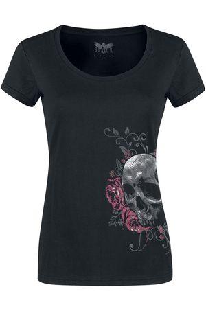 Black Premium by EMP Damen T-Shirts, Polos & Longsleeves - Schwarzes T-Shirt mit Rundhalsausschnitt und Print T-Shirt