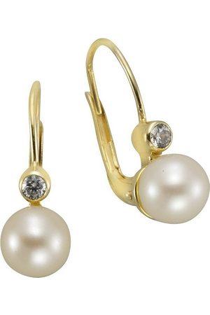 vivance collection Damen Uhren - Paar Ohrhänger »333/- Gelbgold Perlen Zirkonia«, mit Süßwasserzuchtperle