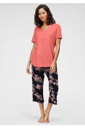 Schiesser Damen Capris - Capri-Pyjama mit geblümter Caprihose