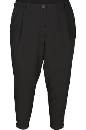Zizzi 7/8-Hose Große Größen Damen Einfarbige Cropped Hose mit Knopfverschluss
