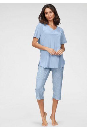 Schiesser Pyjama mit Faltenverarbeitung am Ausschnitt und gemusterter Hose