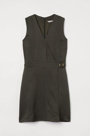 H&M Damen Freizeitkleider - Wickelkleid aus Leinenmix