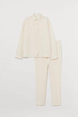 H&M Damen Schlafanzüge - Pyjama aus gewaschenem Leinen