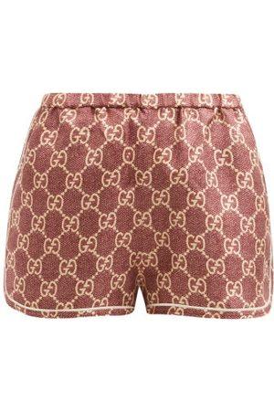 Gucci Gg-logo High-rise Silk Shorts