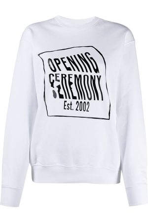 Opening Ceremony WARPED LOGO REGULAR CREWNECK WHITE BLACK