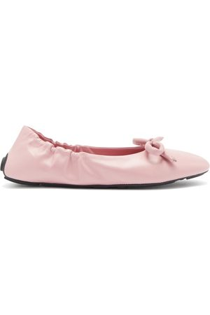 Prada Bow-front Leather Ballet Flats