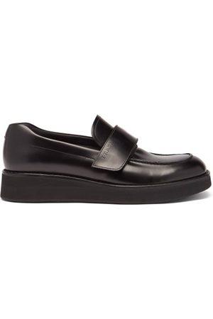 Prada Velcro-strap Leather Platform Loafers