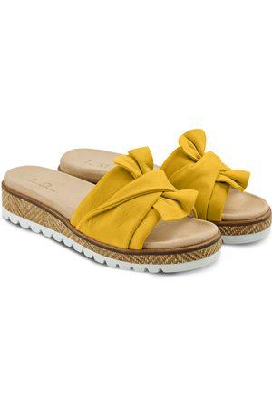 LaShoe Damen Clogs & Pantoletten - Pantolette mit Schleife Senfgelb 36