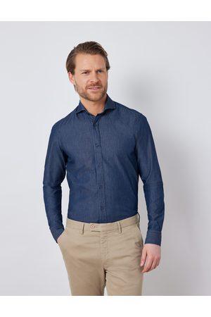 Hawes & Curtis Denim - Herren Denimhemd | 2XL Relaxed Slim Fit Windsorkragen Brusttasche Denimblau |