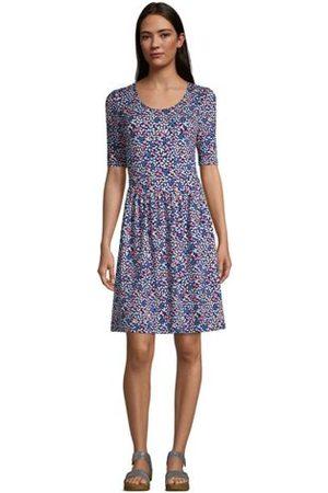 Lands' End Damen Freizeitkleider - Jerseykleid mit halblangen Ärmeln, Damen, Größe: XS Normal, Blau, by Lands' End
