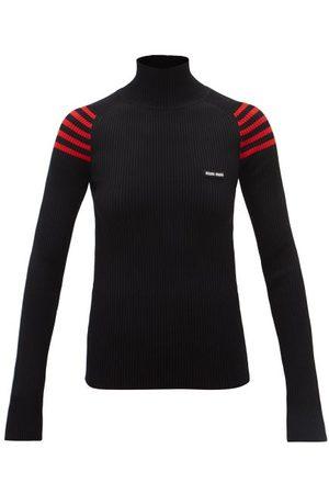 Miu Miu Logo-patch Striped-shoulder Ribbed Sweater