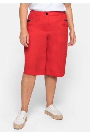 Sheego Damen Bermuda Shorts - Bermudas mit Bügelfalten, aus TENCEL™ Lyocell, feuerrot, Gr.44