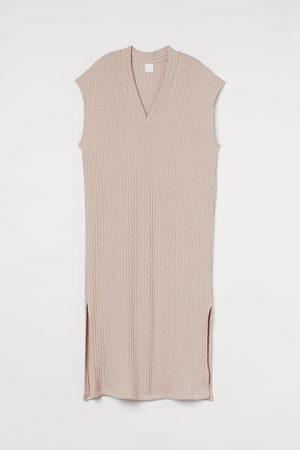 H&M Damen Midikleider - Geripptes Kleid