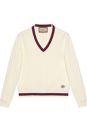 Gucci Herren Strickpullover - Pullover aus Baumwollstrick mit V-Ausschnitt und Web