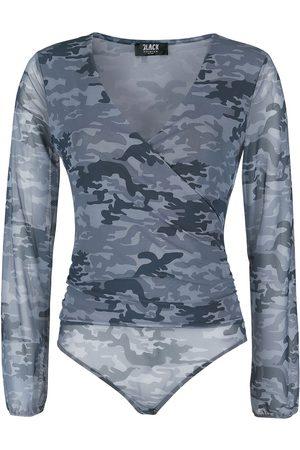 Black Premium by EMP Schwarzer semitransparenter Body mit Camouflage-Muster und V-Ausschnitt Body camouflage