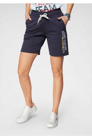 TOM TAILOR Damen Shorts - Sweatshorts mit Logo-Print