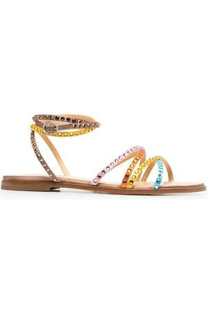 GIANNICO Damen Sandalen - Flache Sandalen mit Kristallen