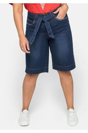 Sheego Damen Bermuda Shorts - Jeansbermudas mit breitem Bund