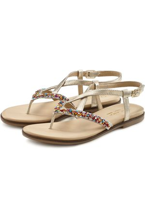Lascana Zehentrenner Sandale aus Leder mit Glitzer