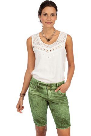 hangOwear Damen Cropped - Jeanshose HENDRINA Bermuda dunkelgrün