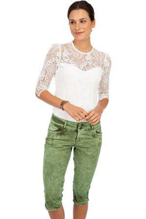 hangOwear Damen Cropped - Jeanshose HENDRINA Kniebund dunkelgrün