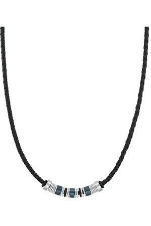 s.Oliver Halsband für Herren, Edelstahl IP Schwarz | Beads, Bicolor, 45+5 cm