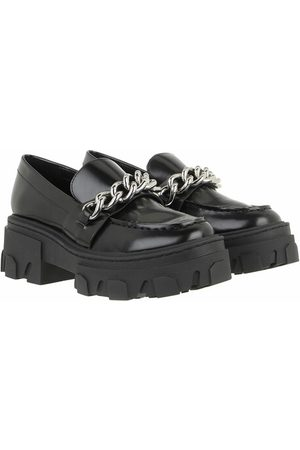 The Kooples Loafers & Ballerinas Ice Leather Moccasins with Large Chain schwarz