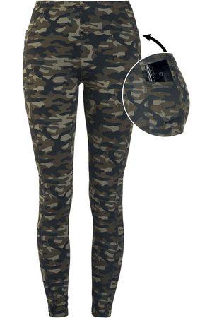 Rock Rebel Damen Leggings & Treggings - Olivfarbene Camo-Leggings mit seitlichen Taschen Leggings oliv