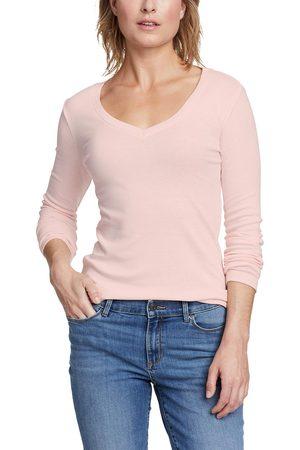 Eddie Bauer Favorite Shirt - Langarm mit V-Ausschnitt Damen Natur Gr. L