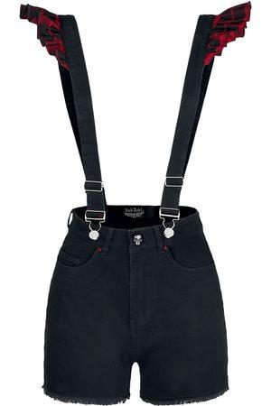 Rock Rebel Damen Shorts - /Schwarze Shorts mit Hosenträgern Short /