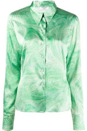 Opening Ceremony ALL OVER MARBLE TIGHT SHIRT GREEN PAPYRU
