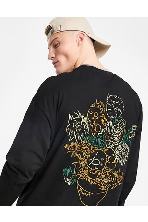 ASOS – Van Gogh Sunflower – Langärmliges Oversize-T-Shirt in mit Stickerei