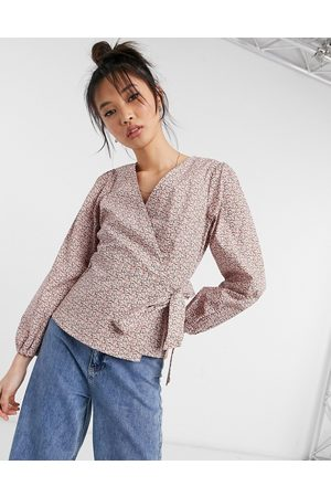 Y.A.S – Wickelbluse in Rosa mit Blümchenmuster-Mehrfarbig