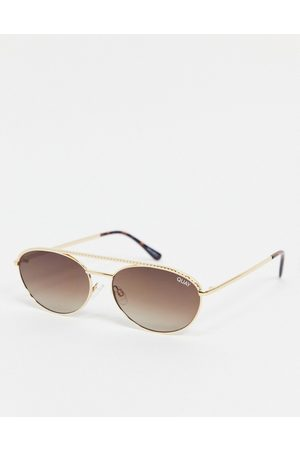 Quay Australia Quay – Easily Amused – Schmale, ovale Sonnenbrille für Damen in Gold-Goldfarben