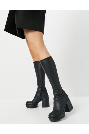 ASOS – Coconut – Kniehohe Stiefel mit dicker Plateausohle