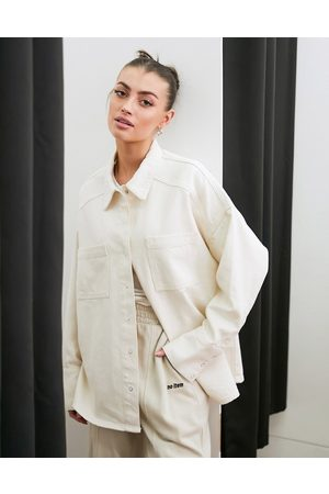 French Connection – Jeans-Hemdjacke in Creme, Kombiteil
