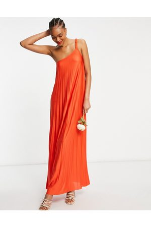 ASOS – Plissiertes Maxikleid mit One-Shoulder-Träger in