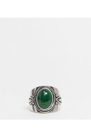 Reclaimed Vintage – Inspired – Silberfarbener Ring mit Stein