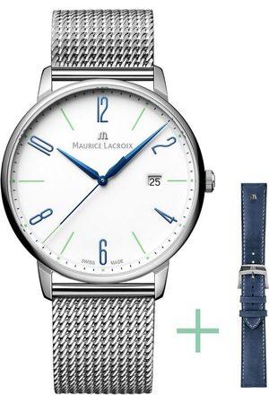 Maurice Lacroix Schweizer Uhr »Eliros Date, EL1118-SS00E-120-C«, (Set, 2-tlg., mit Wechselband aus Metall)