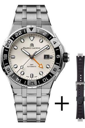 Maurice Lacroix Automatikuhr »Aikon GMT Automatik, AI6158-SS00F-130-A«, (Set, 2-tlg., mit Wechselband aus schwarzem Kautschuk)