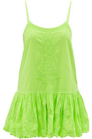 Juliet Dunn Hand-embroidered Cotton Mini Dress