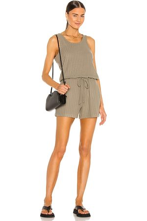 Chaser Poor Boy Rib Double Scoop Tank Romper in . Size S, XS, M.